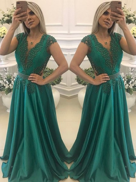 A-Line/Princess Short Sleeves V-neck Long Beading Silk like Satin Dress