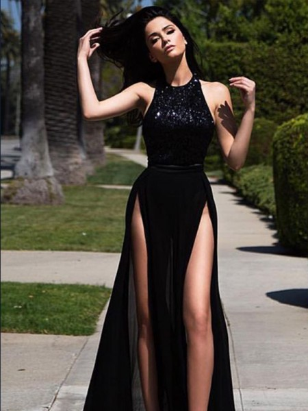A-Line/Princess Sleeveless Jewel Long Sequin Tulle Dress