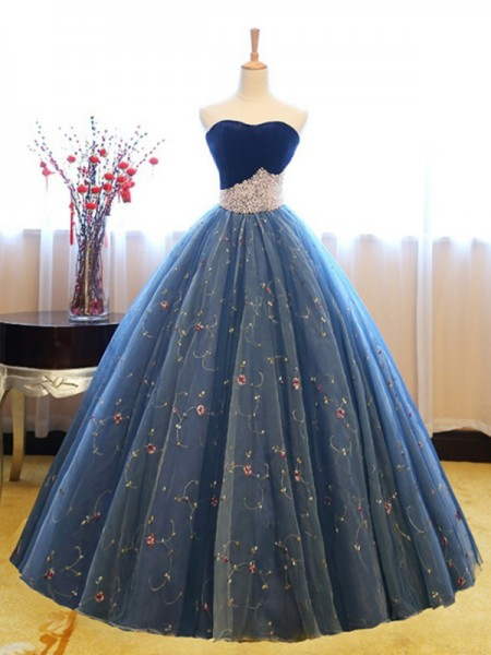 Ball Gown Sleeveless Sweetheart Long Beading Net Dress