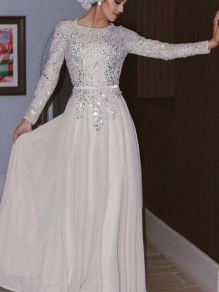 A-Line/Princess Long Sleeves Long Crystal Chiffon Muslim Dress