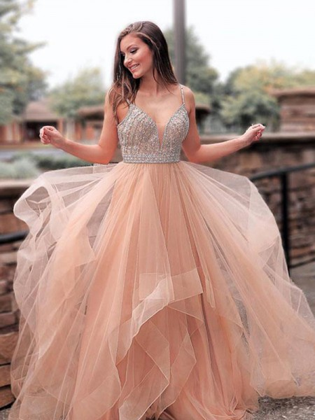 A-Line/Princess Sleeveless Straps Sweep/Brush Train Beading Tulle Dress
