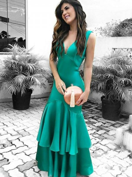 Sheath/Column Sleeveless V-neck Ruffles Satin Floor-Length Dress