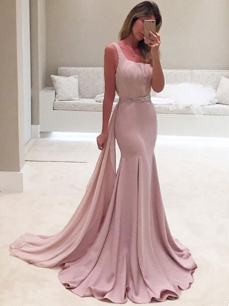 Trumpet/Mermaid Sleeveless One-Shoulder Ruffles Chiffon Sweep/Brush Train Dress