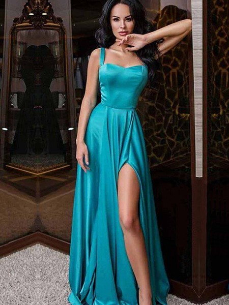 A-Line/Princess Sleeveless Elastic Woven Satin Sweep/Brush Train Dress