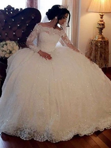 Ball Gown Bateau Long Sleeves Lace Tulle Floor-Length Wedding Dress
