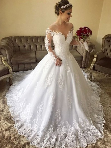 Ball Gown Off-the-Shoulder Long Sleeves Lace Tulle Sweep/Brush Train Wedding Dress