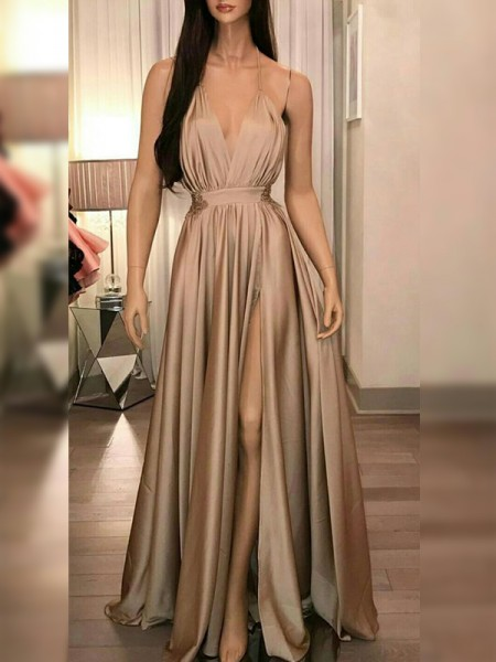 A-Line/Princess Silk like Satin Ruffles Spaghetti Straps Sleeveless Floor-Length Dress
