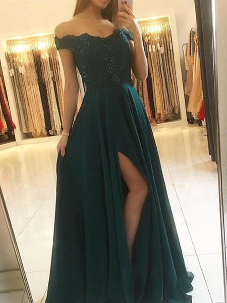A-Line/Princess Off-the-Shoulder Sleeveless Beading Chiffon Floor-Length Dress