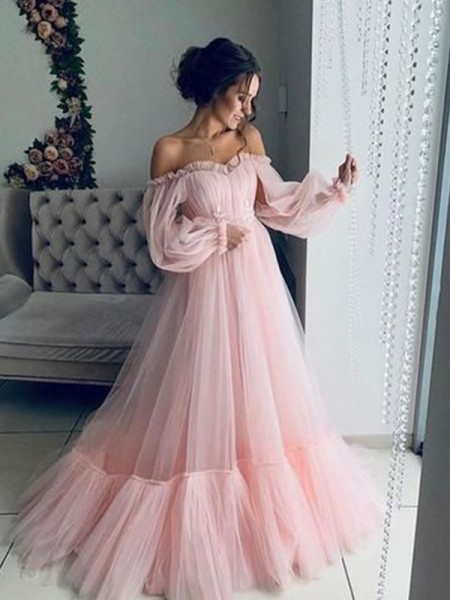 A-Line/Princess Tulle Applique Off-the-Shoulder Long Sleeves Sweep/Brush Train Dress
