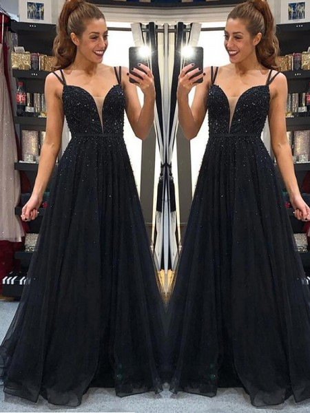 A-Line/Princess Tulle Beading Long Sleeveless Dress