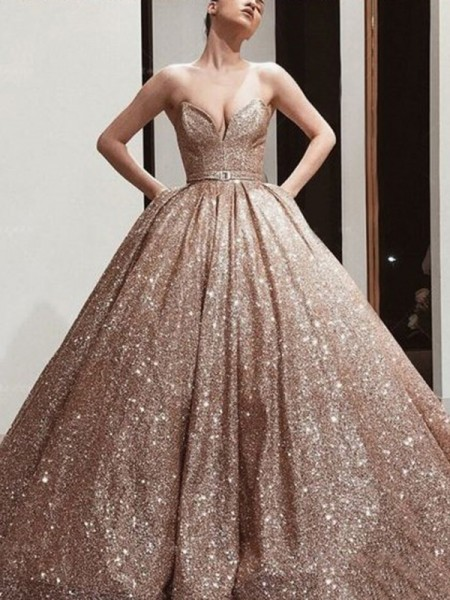 Ball Gown Sequins Sweetheart Sleeveless Sweep/Brush Train Dress