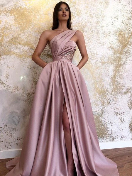 A-Line/Princess Satin Sleeveless Ruched One-Shoulder Sweep/Brush Train Dress