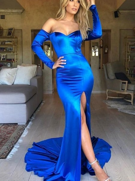Trumpet/Mermaid Ruched Stretch Satijn V-neck Long Sleeves Court Train Dress