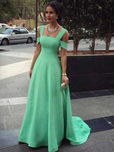 A-Line/Princess Straps Sleeveless Floor-Length Satin Dresses