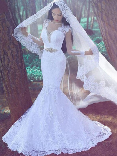 Trumpet/Mermaid Sweetheart Lace Court Train Applique Wedding Dresses