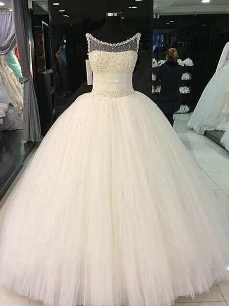 Ball Gown Tulle Scoop Floor-Length Wedding Dresses