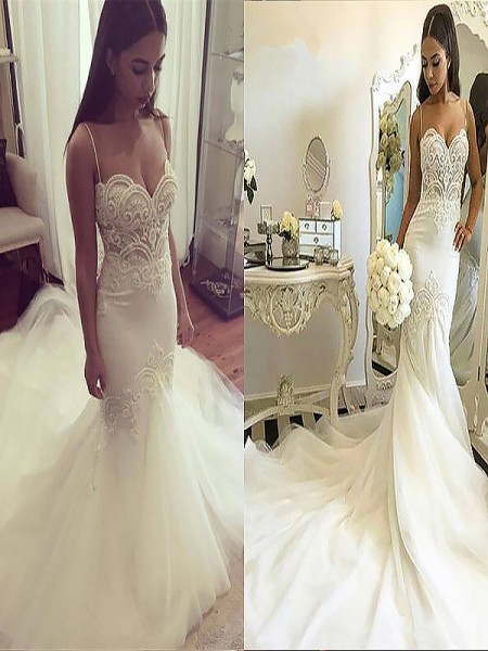 Trumpet/Mermaid Spaghetti Straps Chapel Train Tulle Wedding Dresses