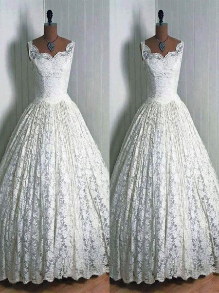 Ball Gown Lace Sweetheart Floor-Length Wedding Dresses