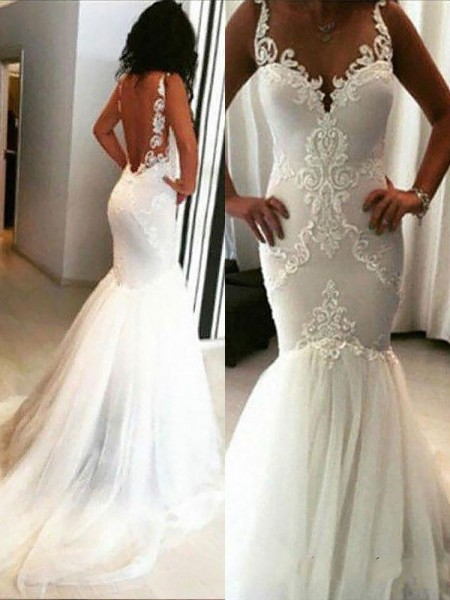 Trumpet/Mermaid Chapel Train Spaghetti Straps Tulle Applique Wedding Dresses