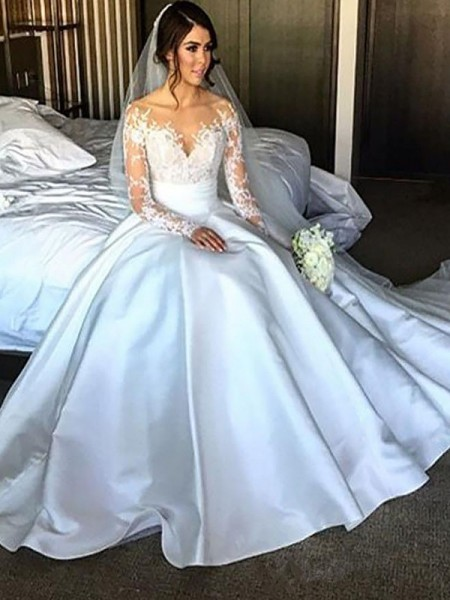 Ball Gown Satin Court Train Wedding Dresses