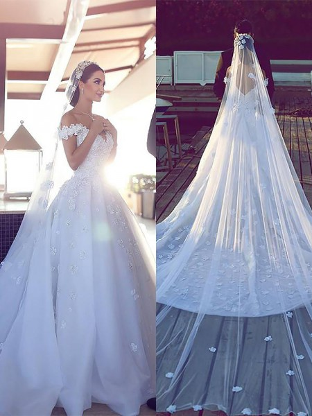 Ball Gown Satin Chiffon V-neck Chapel Train Wedding Dresses