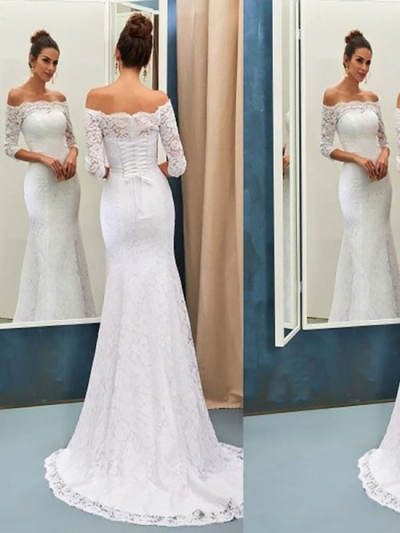 Trumpet/Mermaid Off-the-Shoulder Sweep/Brush Train Lace Wedding Dresses