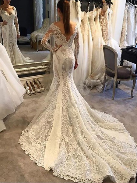 Trumpet/Mermaid V-neck Court Train Lace Wedding Dresses