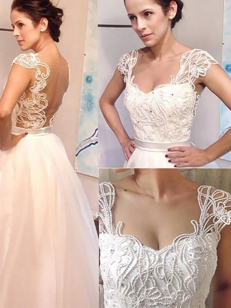 A-Line/Princess Sweetheart Sweep/Brush Train Tulle Wedding Dresses