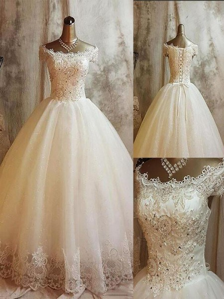 Ball Gown Off-the-Shoulder Sweep/Brush Train Tulle Applique Wedding Dresses