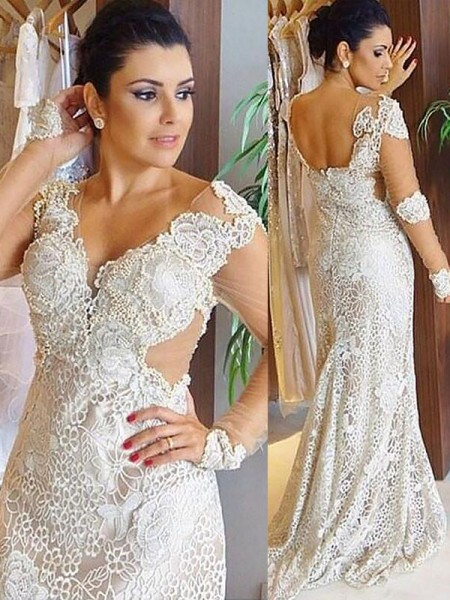 Sheath/Column V-neck Lace Sweep/Brush Train Wedding Dresses