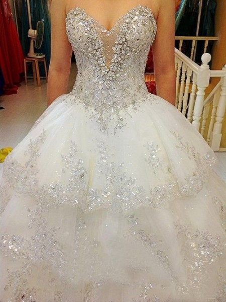 A-line/Princess Sweetheart Floor-length Tulle Wedding Dresses