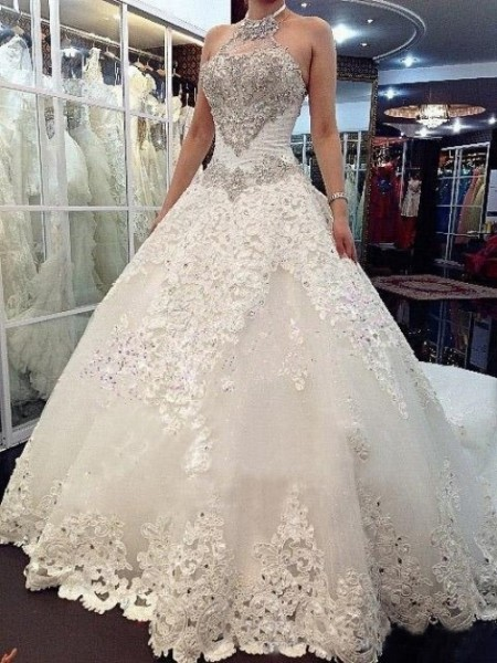 A-line/Princess High Neck Cathedral Train Tulle Wedding Dresses