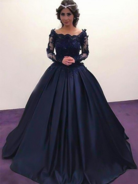 Ball Gown Bateau Long Sleeves Sweep/Brush Train Applique Dresses with Satin