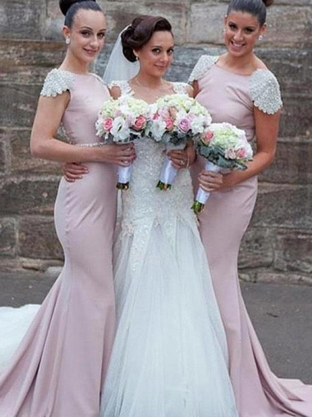 Sweep/Brush Train Trumpet/Mermaid Bateau Sleeveless Bridesmaid Dresses with Satin