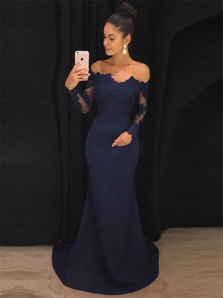 Trumpet/Mermaid Off-the-Shoulder Long Sleeves Sweep/Brush Train Dresses with Lace with Satin