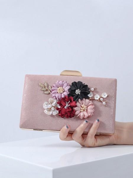 Pretty PU Handbags With Flowers