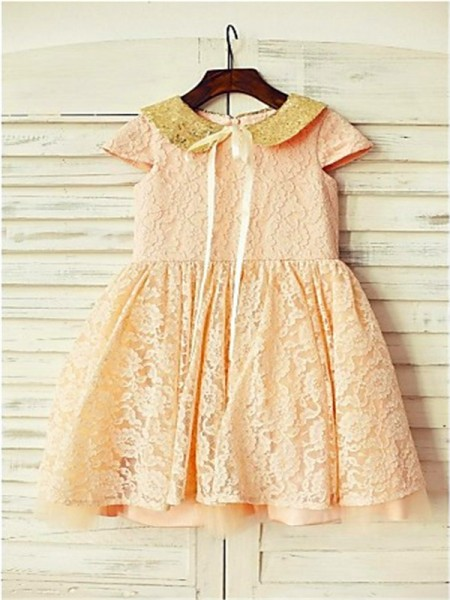 A-line/Princess Scoop Sequin Tea-Length Flower Girl Dress with Lace