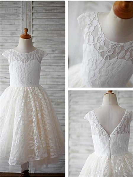 A-line/Princess Scoop Tea-Length Flower Girl Dress with Lace