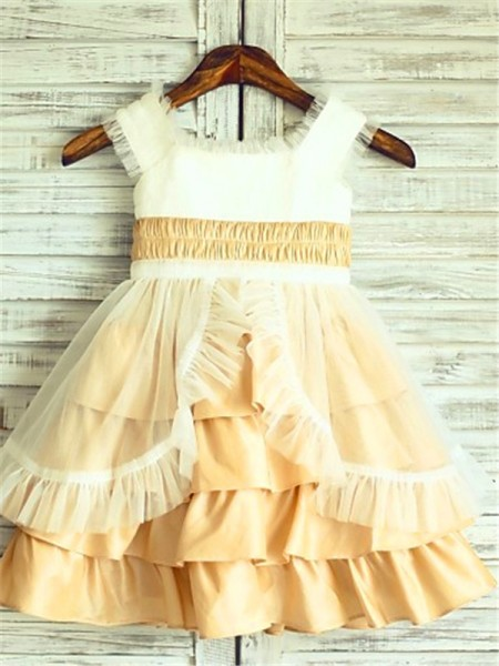 A-line/Princess Square Layers Tea-Length Satin Flower Girl Dress