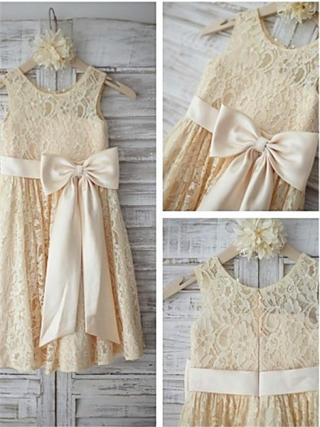 A-line/Princess Scoop Bowknot Knee-Length Flower Girl Dress with Lace