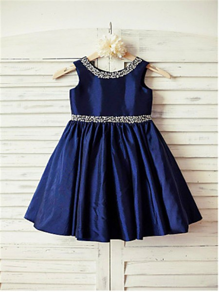 A-line/Princess Scoop Rhinestone Tea-Length Taffeta Flower Girl Dress