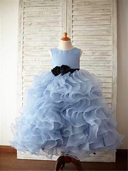 Ball Gown Scoop Ruffles Floor-Length Organza Flower Girl Dress