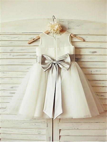 A-line/Princess Scoop Bowknot Tea-Length Tulle Flower Girl Dress