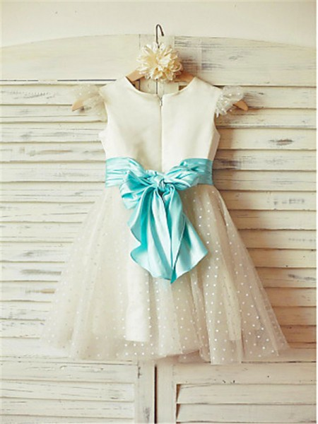 A-line/Princess Jewel Layers Tea-Length Tulle Flower Girl Dress