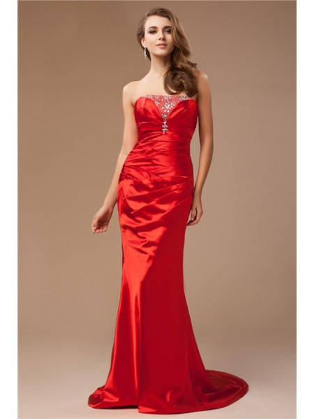 Trumpet/Mermaid Strapless Long Taffeta Dress