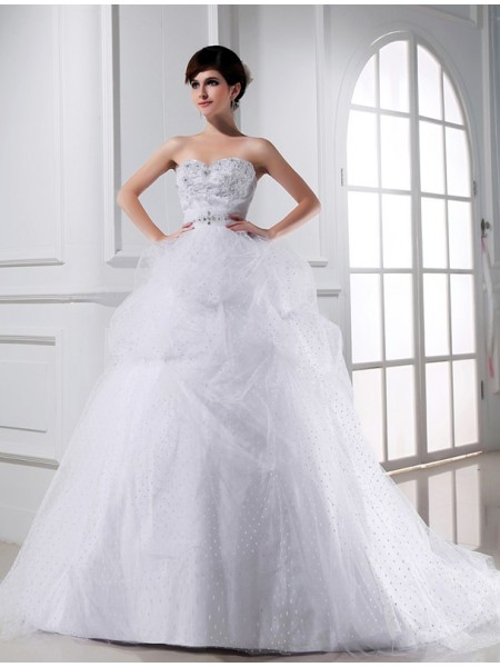 Ball Gown Sweetheart Applique Satin Tulle Wedding Dress