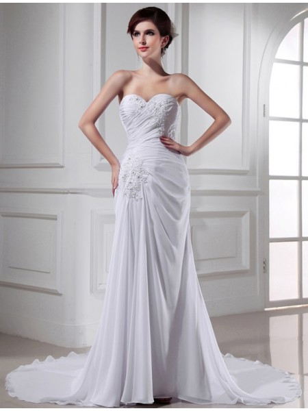 Trumpet/Mermaid Sweetheart Chiffon Long Wedding Dress