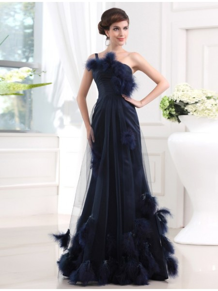 Trumpet/Mermaid One-shoulder Long Satin Tulle Feathers/Fur Dress
