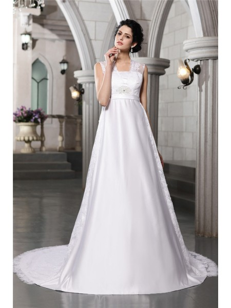 A-Line/Princess Lace Long Satin Wedding Dress