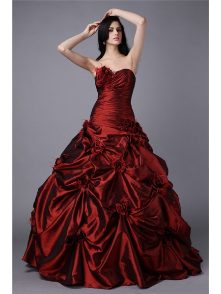 Ball Gown Strapless Long Taffeta Dress